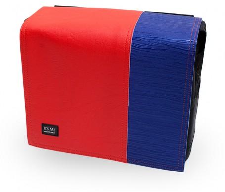 Kunstleder Deckel rot blau